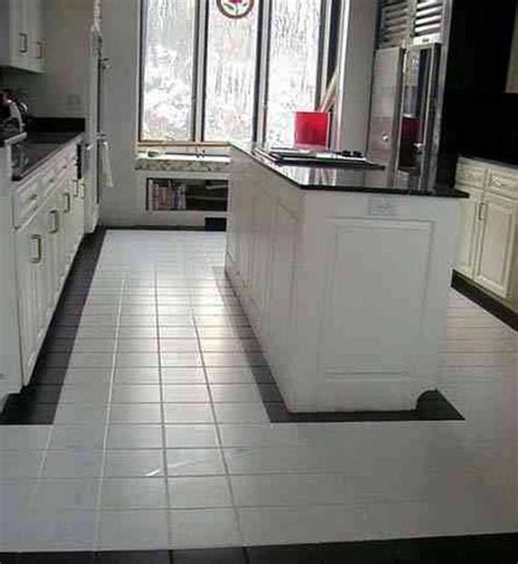 White Clean Kitchen Designs With Ceramic Tile Floor Home Kitchen Floor Tile Designs