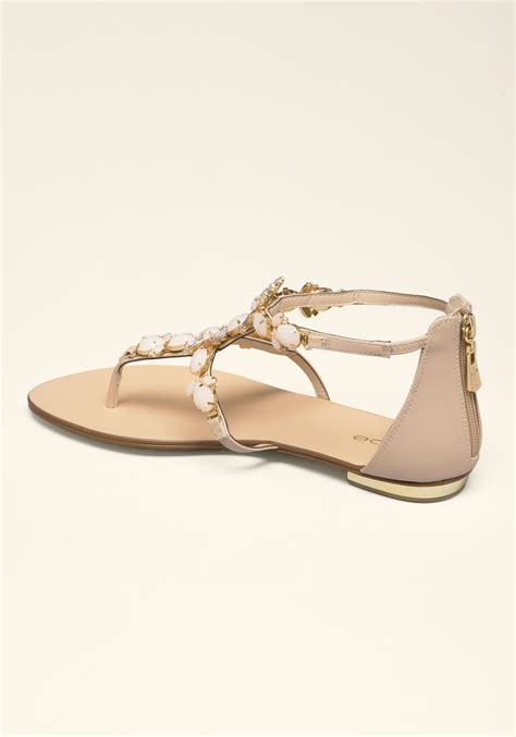 jeweled flat shoes lyst bebe dayna jeweled flat sandals in