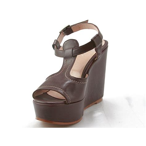 Wedges On Brown small or large wedge sandal in brown leather