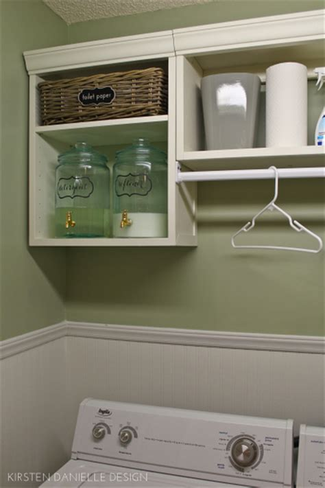 laundry room shelf with hanging rod our laundry closet makeover through the front door