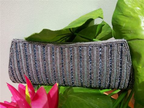 Another Etsy Find The Satin Rolled Clutch by Beaded Gray Clutch Gray Wedding Clutch Beaded Bag