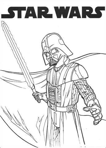 Dibujo de Darth Vader con espada láser para colorear
