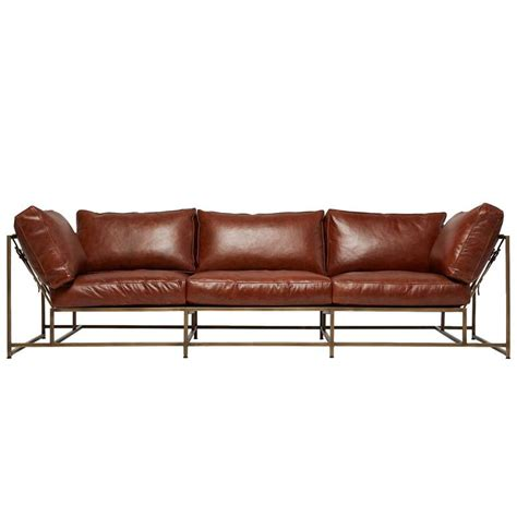 antique brown leather sofa walnut brown leather and antique brass sofa for sale at