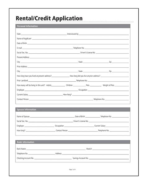 Free Printable Credit Application Template Rental Credit Application Forms And