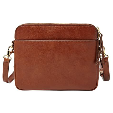 Leather Patchwork - fossil sydney leather patchwork crossbody in brown multi