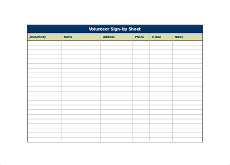 volunteer sign up form template sign up sheet template 18 free documents in