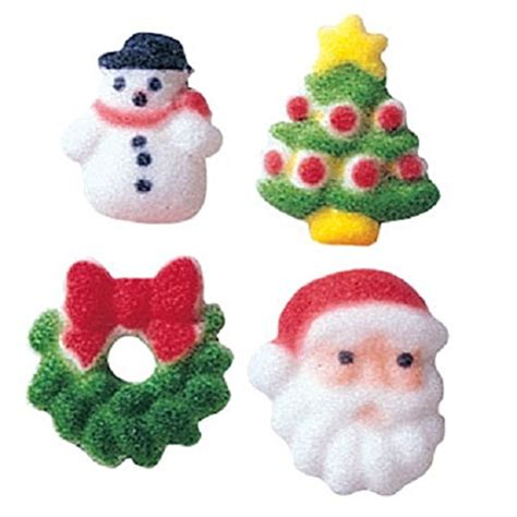 lucks dec ons molded sugar cup cake topper christmas