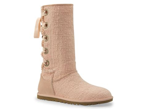 lace up ugg boots ugg heirloom lace up boots in pink apricot lyst