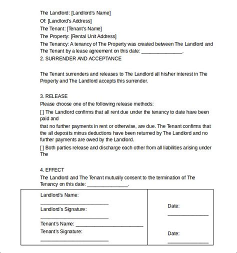 Landlord Agreement Letter Sle Termination Letters 9 Landlord Lease Termination Letters In Doc Pdf