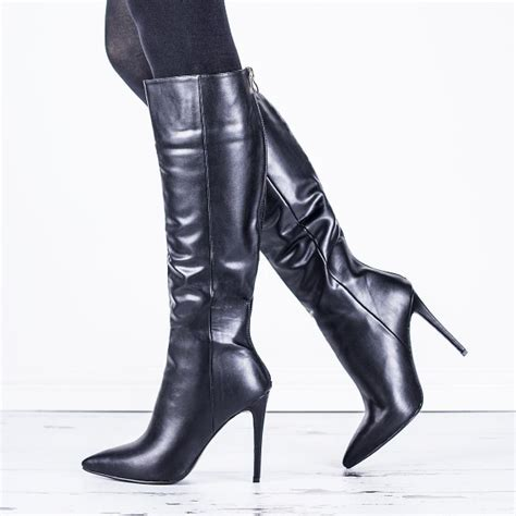 knee high high heeled boots buy heeled pointed toe knee high boots black leather
