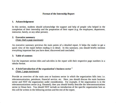 internship report template internship report template 11 free sles exles