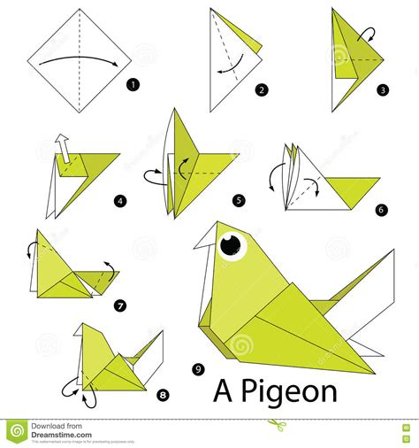 How To Make Paper Pigeon - step bye step origami images images