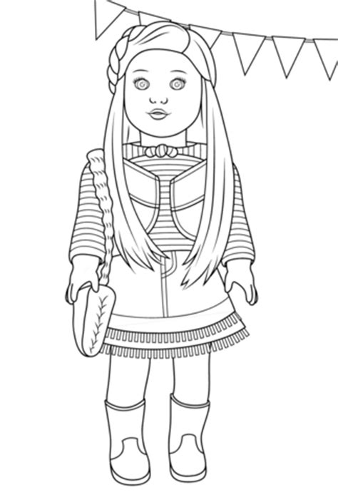 girl doll coloring page doll snow cones american girl mckenna printable crafts