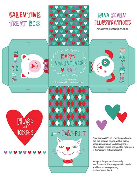 Templates For Valentines Day Boxes | nina seven free printable valentine s day treat box