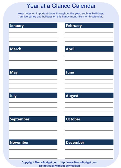 printable calendar at a glance printable budget at a glance calendar template 2016