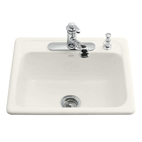 Kohler Kitchen Sinks Cast Iron Kohler Mayfield Drop In Cast Iron 25 In 3 Single Basin Kitchen Sink In Biscuit K 5964 3 96