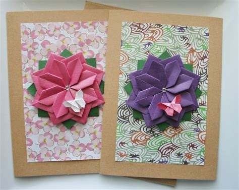 Origami Flowers For Cards - handmade card set of 2 cards s day