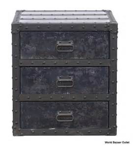 22 quot w metal side table night stand black three wood drawers industrial
