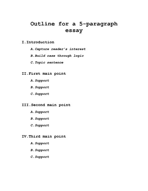 essay with outline sles