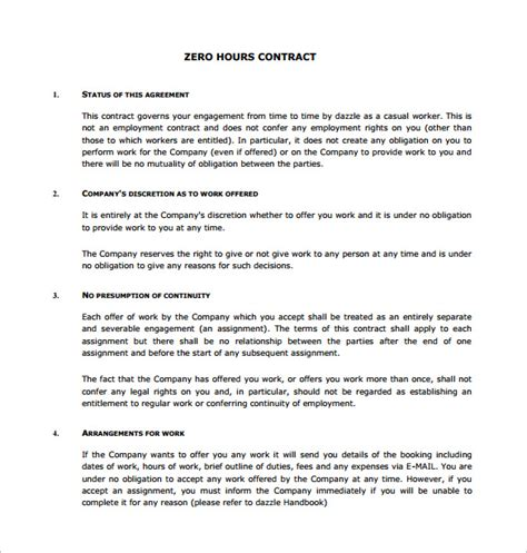 0 hours contract template 17 contract templates free word pdf documents