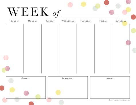 Weekly Calendar Planner Printable Weekly Planner