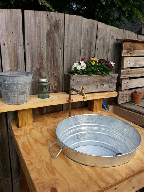 galvanized wash tub sink outdoor sink made from scrap wood galvanized wash tub