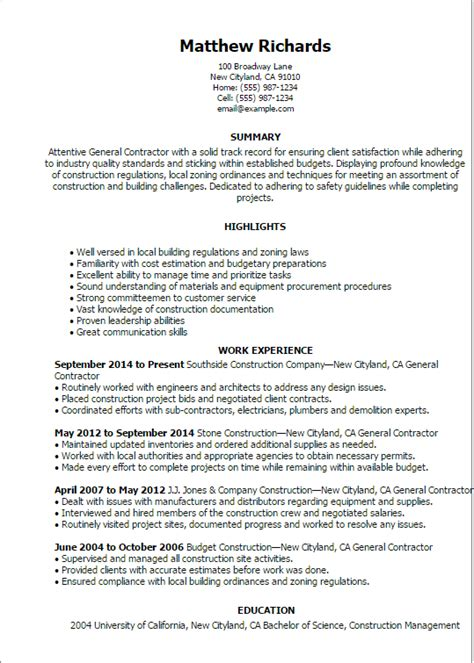 general contractor resume sle sle resume for construction contractor co founder resume