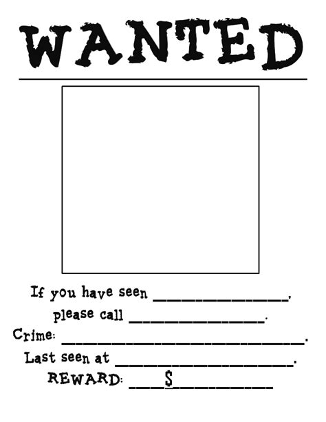 free wanted poster template printable grade pandamonium