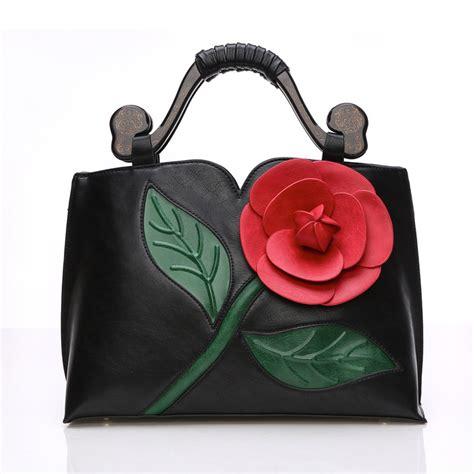 Best Seller Handbag Flower Tricolor pu leather handbag 2017 summer new fashion large flower tote bag brand