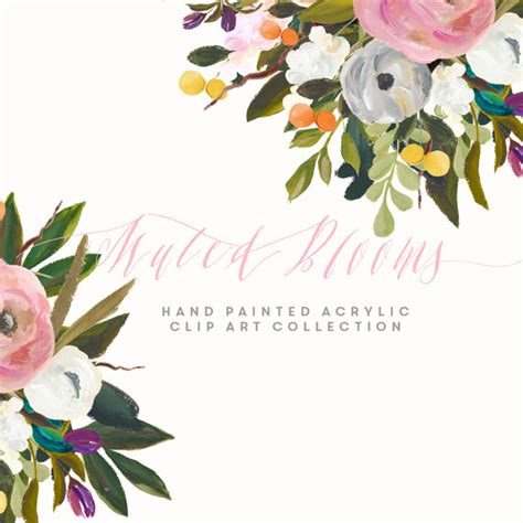 Www Compliments Ca Gift Cards Balance - hand painted flower clip art collection muted blooms