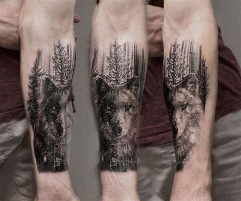 tattoo trends 60 forearm tree tattoo designs for men tattoo trends wolf in forest mens forearm tree tattoo