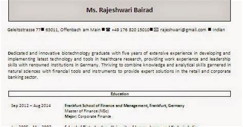 Mba In Germany Freshers by Cv Resume