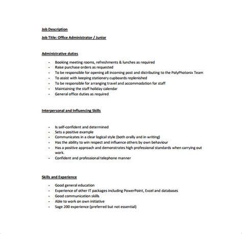 office administrator job description templates 10 free