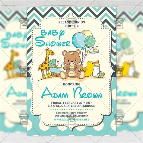 baby shower kids a5 flyer template exclsiveflyer