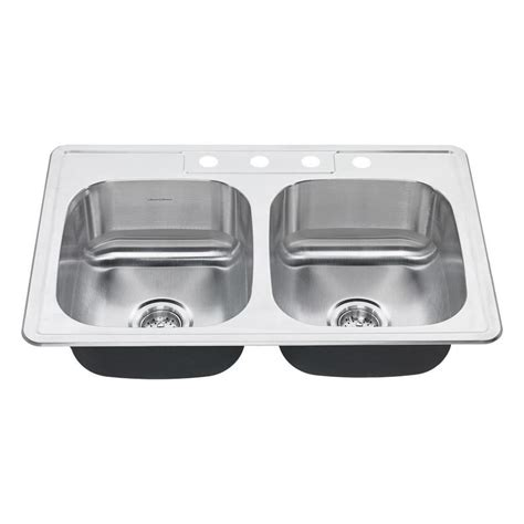 American Standard Stainless Steel Kitchen Sink Shop American Standard 22 In X 33 In Stainless Steel Basin Drop In 4 Residential