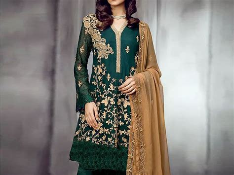 design dress at home designer embroidered green chiffon dress price in pakistan