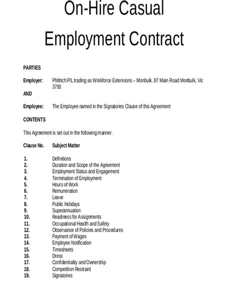 11 Employment Contract Templates Pages Docs Word Free Premium Templates Free Casual Employment Contract Template