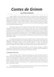 Narrative Resume Sles by Contes De Grimm Fiches De Lecture