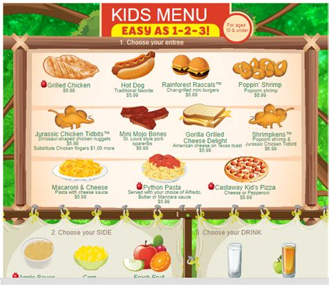 kid menu template menu templates
