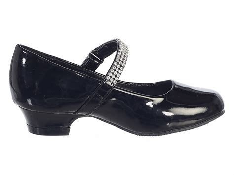 black patent low heel dress shoe with rhinestone
