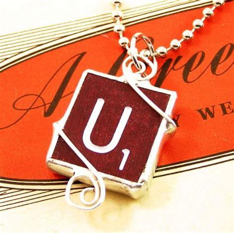 xo scrabble burgundy scrabble letter u pendant necklace