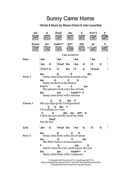 came home sheet by shawn colvin lyrics
