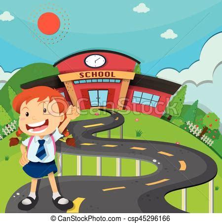 imagenes niños yendo al colegio ni 241 a yendo escuela ilustraci 243 n vector clip art buscar