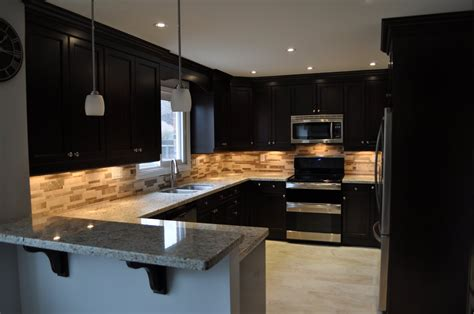 Black Kitchen Lights Kitchen Modern Kitchen With Black Island And Brown European Style Cabinets Black Kitchen