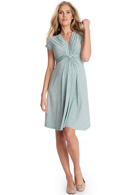 Tally Maternity green polkadot front knot maternity dress by seraphine