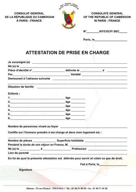 Exemple Lettre De Prise En Charge Pour Visa Canada Attestation De Prise En Charge Visa