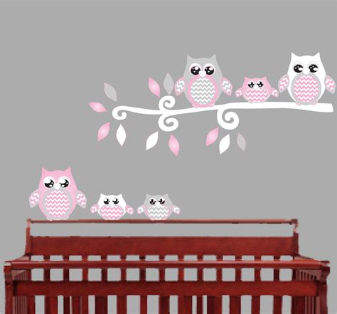 Pink Wall Decals For Nursery Pink Owl Wall Decals Owl Stickers Owl Nursery Wall Decor