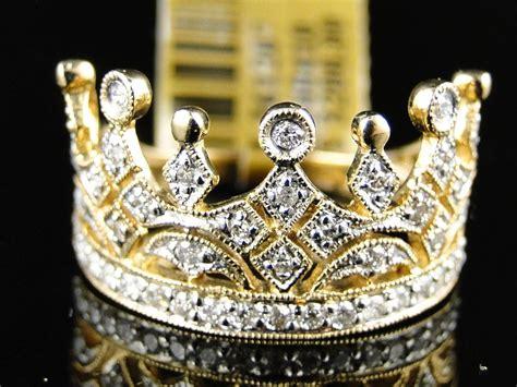 10k yellow gold crown fashion designer ring