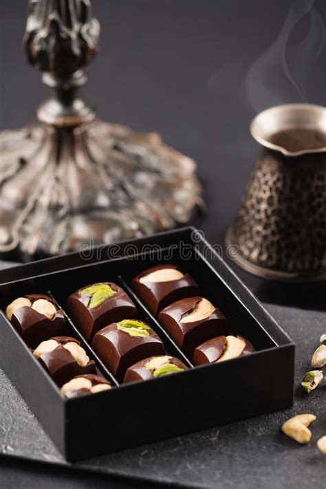 Luxury Handmade Chocolates - luxury handmade chocolate candies with nuts in gift box
