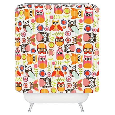 owl shower curtain bed bath and beyond deny designs valentina ramos cute little owls shower
